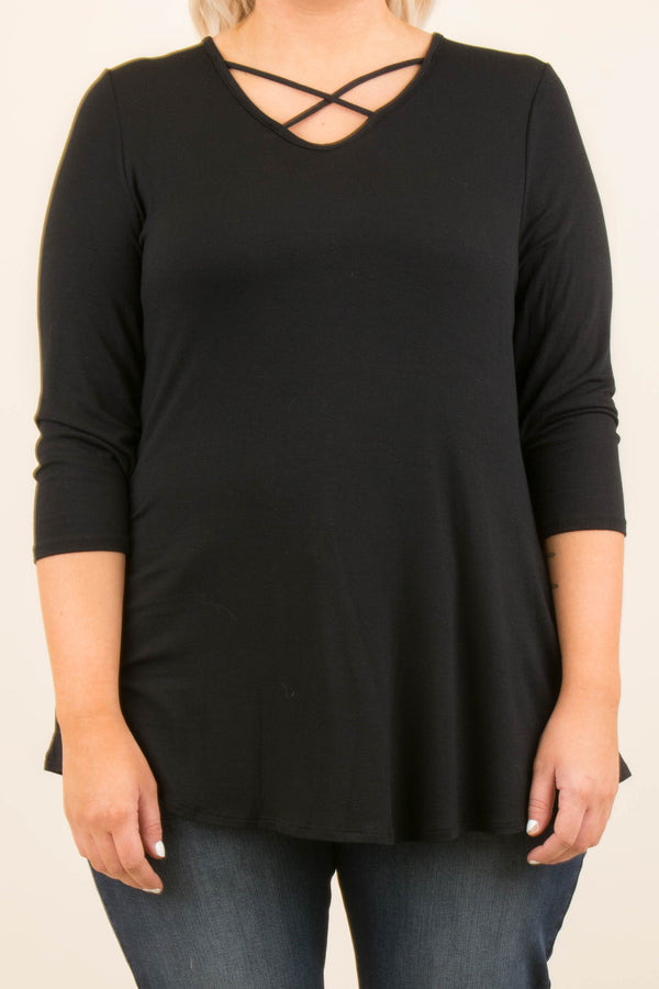Crossed Out Tunic, Black