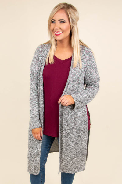 cardigan, long sleeve, long, side slit, gray, heathered, comfy, fall, winter