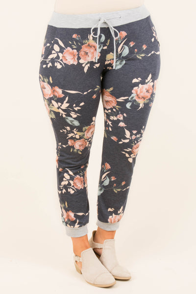 My Kinda Floral Pants, Navy