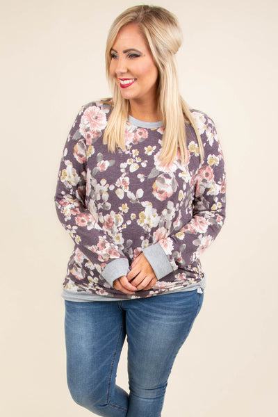 top, blouse, long sleeve, round neck, floral, casual, warm, fall, winter
