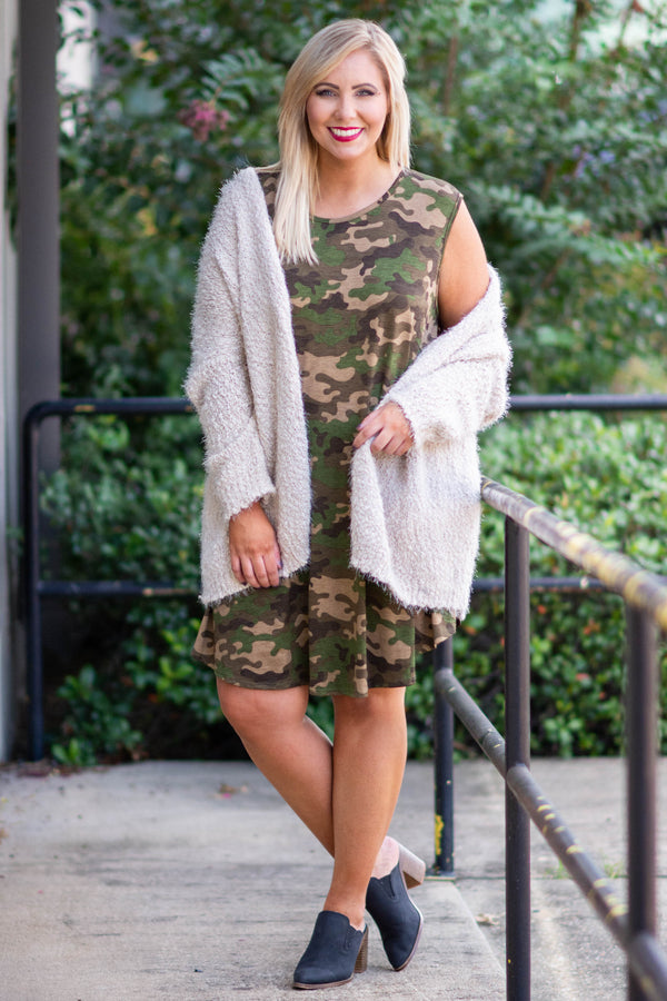 dress, short, sleeveless, green, brown, camo, flowy