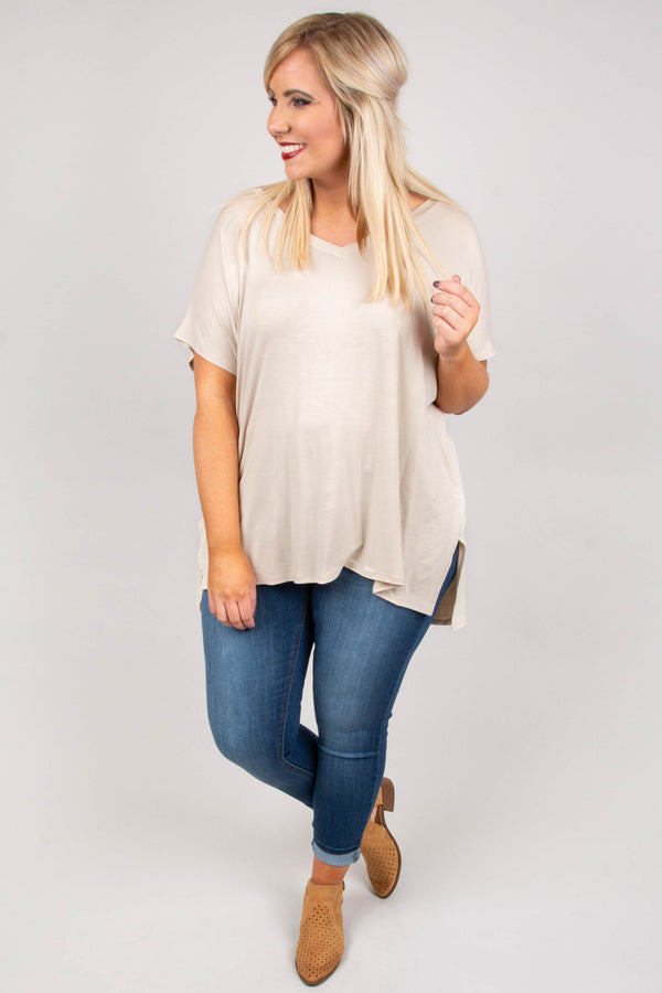 top, short sleeve, taupe, flowy, v neck, relaxed