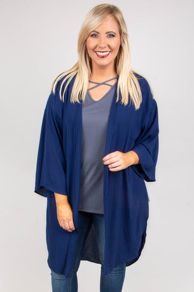 kimono, long sleeve, long, flowy, navy, thin, comfy, outerwear