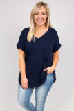 shirt, short sleeve, vneck, side slits, flowy, navy, solid, comfy, cuffed sleeve