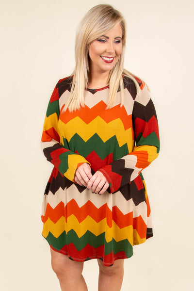 dress, short, long sleeve, curved hem, flowy, red, green, yellow, orange, tan, brown, chevron, comfy, fall, winter