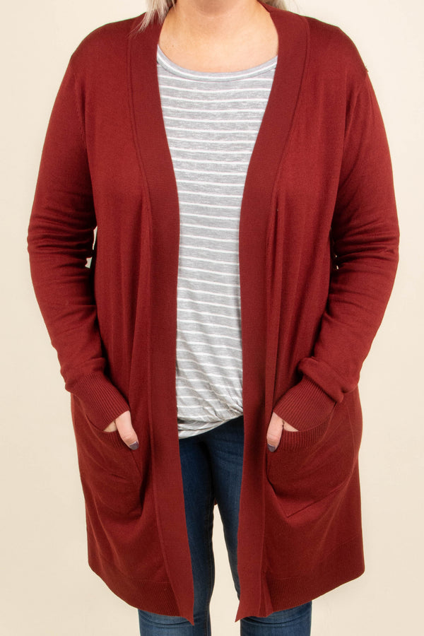 Made My Day Cardigan, Dark Rust