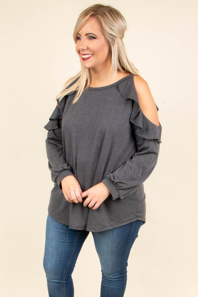 Giving The Cold Shoulder Top, Charcoal