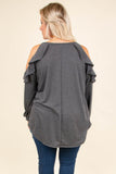 shirt, long sleeve, cold shoulder, ruffle shoulders, curved hem, flowy, gray, comfy, fall, winter