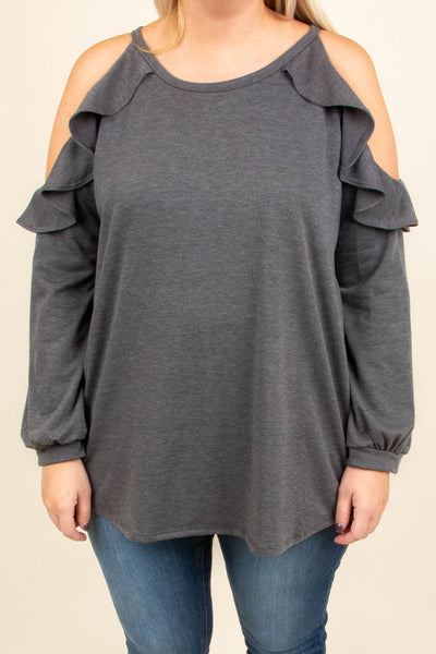 28722d95a81 Giving The Cold Shoulder Top, Charcoal – Chic Soul