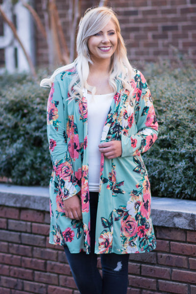 cardigan, long sleeve, long, flowy, mint, floral, white, pink, green, comfy