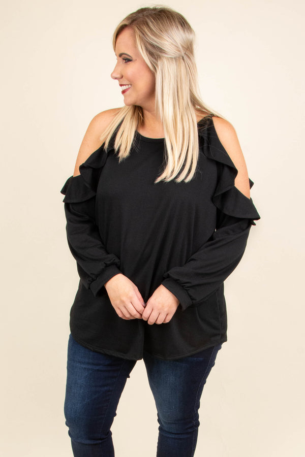 6277b63b137 Giving The Cold Shoulder Top, Black – Chic Soul