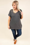 shirt, short sleeve, vneck, side slits, flowy, charcoal, solid, comfy, cuffed sleeve