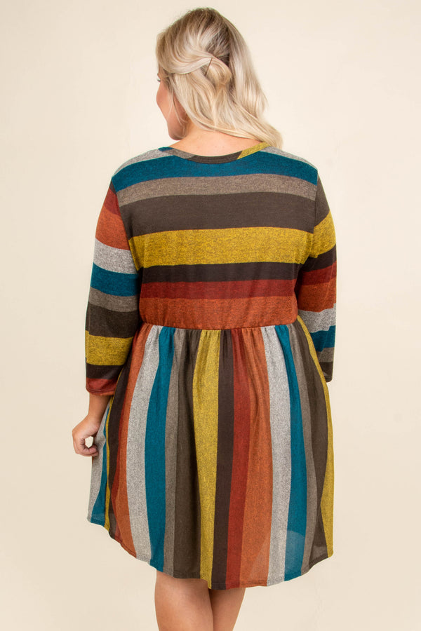 dress, short, three quarter sleeve, fitted, top, flowy skirt, pockets, mustard, brown, red, orange, gray, teal, striped, comfy, fall, winter