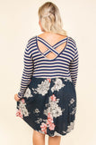 Play With Patterns Dress, Navy