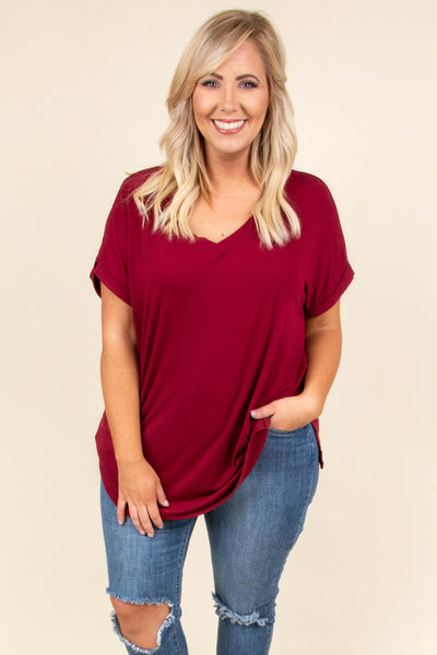 shirt, short sleeve, vneck, side slits, flowy, red, solid, comfy, cuffed sleeve