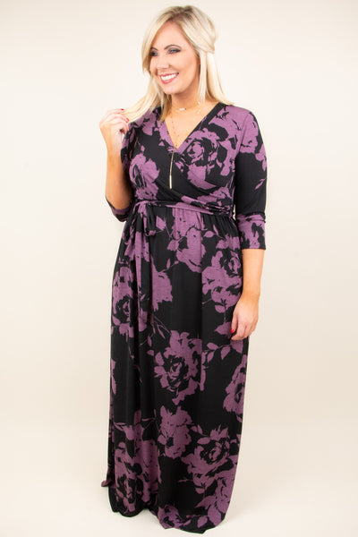 Beneath The Palms Maxi, Black-Lavender