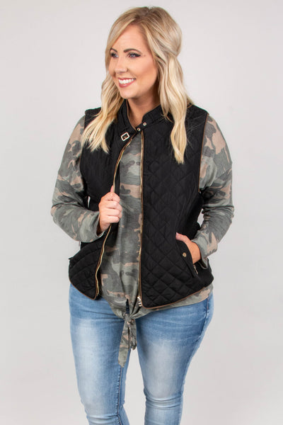 vest, quilted, black, solid, zipper, pockets, gold hardware, outerwear, fall, winter