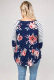 shirt, long sleeve, curved hem, elbow patches, flowy, navy, floral, red, striped sleeves, white, comfy