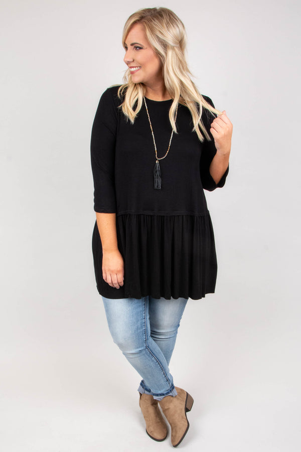 tunic, three quarter sleeve, babydoll, flowy, black, solid, comfy