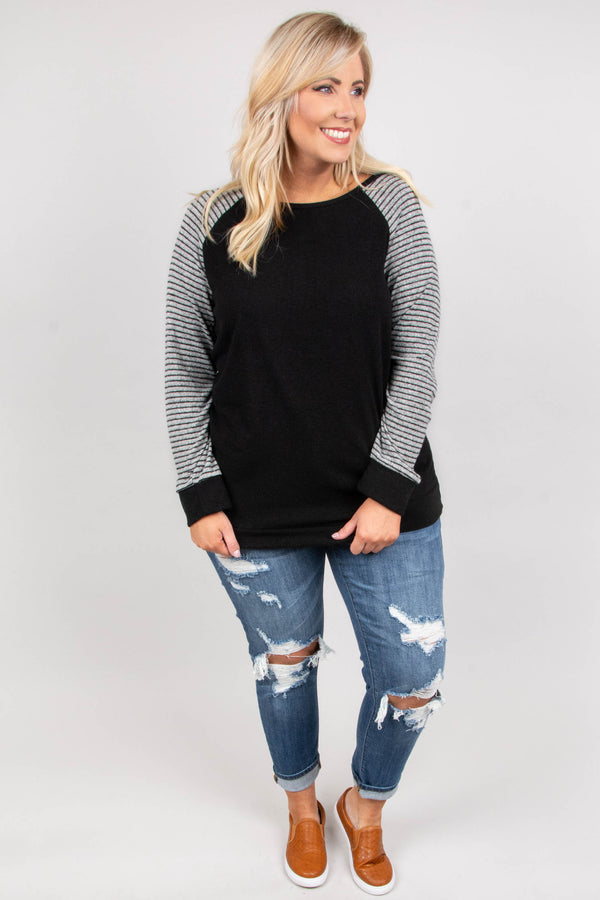 Simple In Stripes Sweater, Black