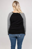 sweater, long sleeve, form fitting, black, striped sleeves, white, comfy, fall, winter