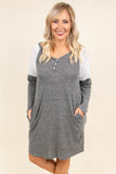 dress, short sleeve, long sleeve, vneck, buttons, pockets, flowy, gray, white shoulders, heathered, comfy, fall, winter