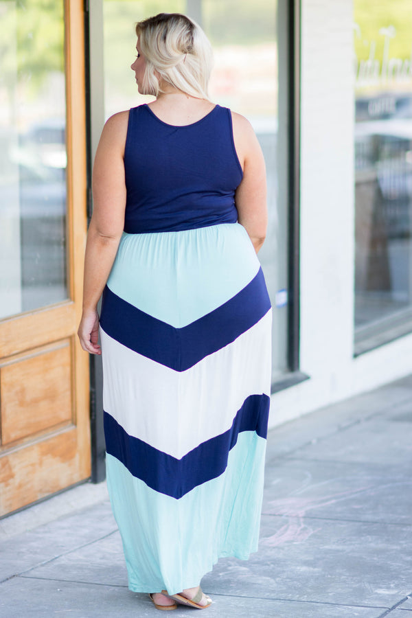 Forever Joyful Maxi Dress, Navy-Mint