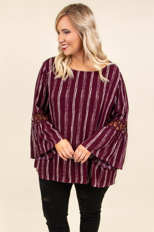 Love On The Line Top, Burgundy