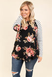 shirt, long sleeve, elbow patches, black, white, striped sleeves, pink, green, floral, curved hem, flowy, comfy
