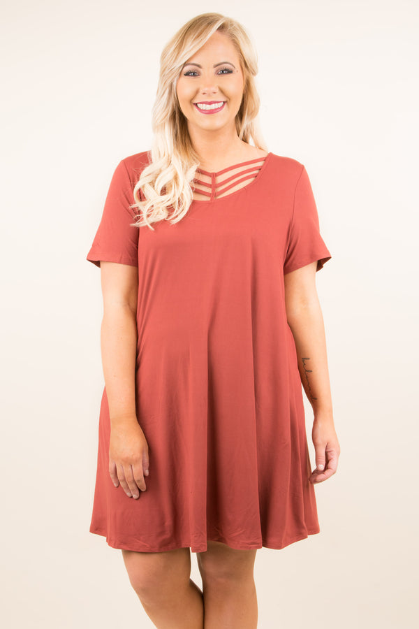 dress, short, short sleeve, red, brick, cage neckline, flowy