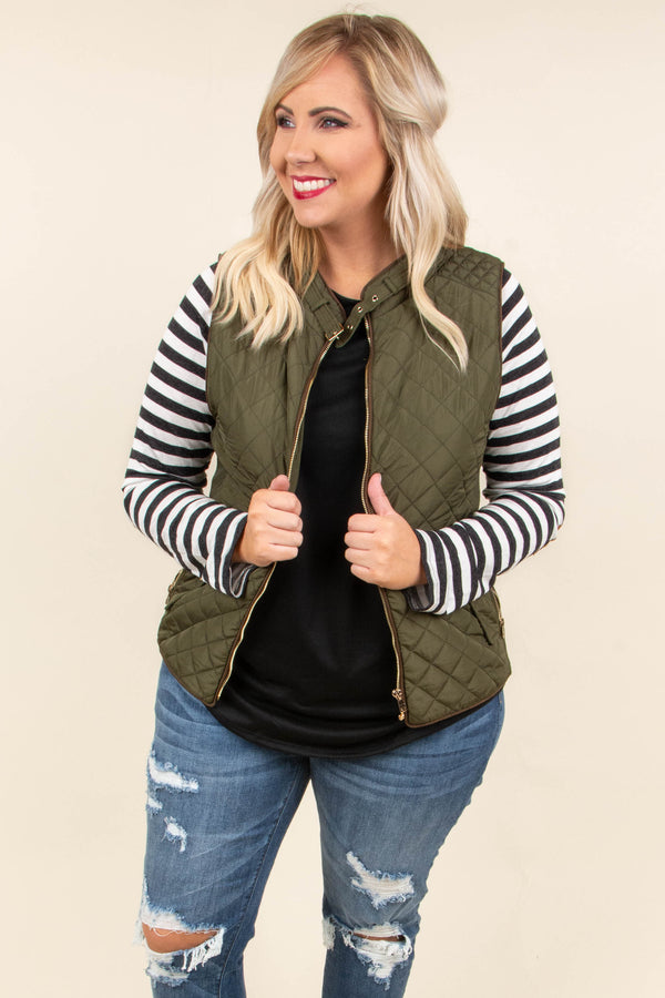 vest, quilted, zipper, pockets, olive, solid, outerwear, fall, winter