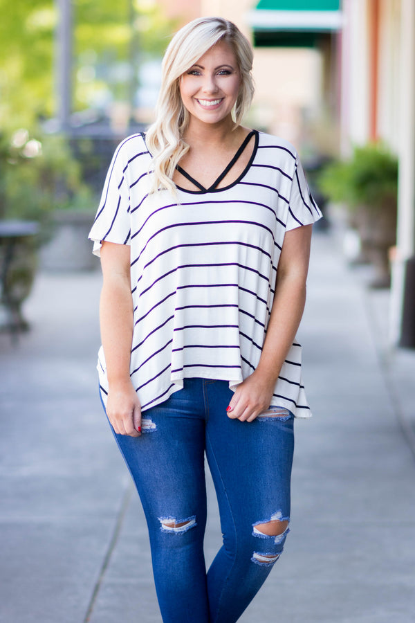 Casual Cool Top, Ivory-Black