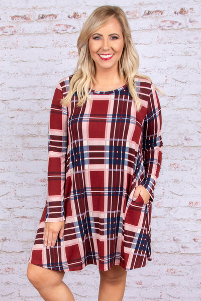 dress, short, three quarter sleeve, pockets, flowy, red, white, blue, plaid, fall, winter