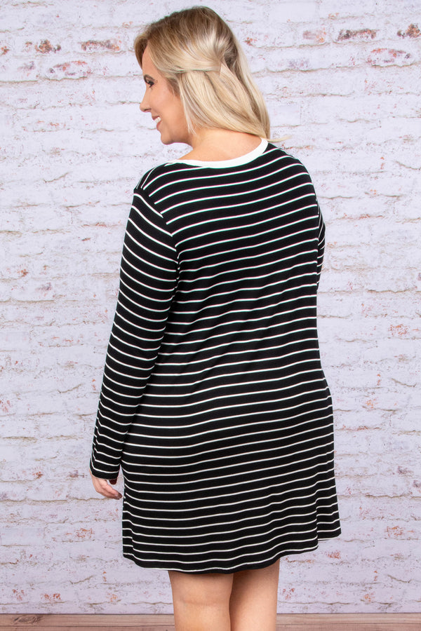 dress, short, long sleeve, flowy, pockets, black, white, striped, comfy