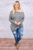 top, long sleeve, charcoal, stripes, ivory, twist waist, off the shoulder