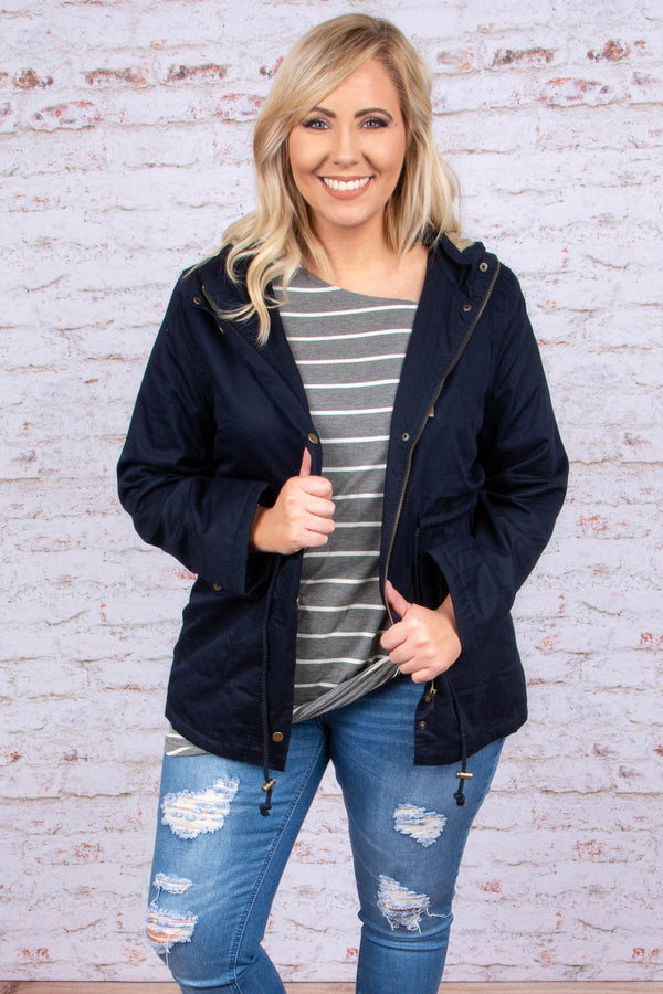 jacket, long sleeve, zippered, pockets, hood, drawstring waist, navy, solid, outerwear, fall, winter