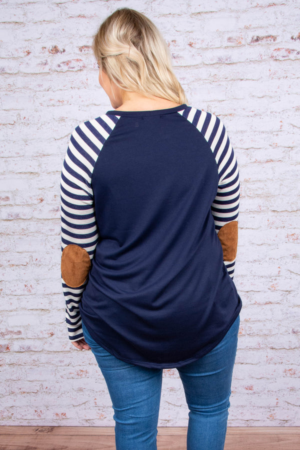 shirt, long sleeves, elbow patches, navy, white stripes, striped sleeves, curved hem, soft, comfy, fall, winter
