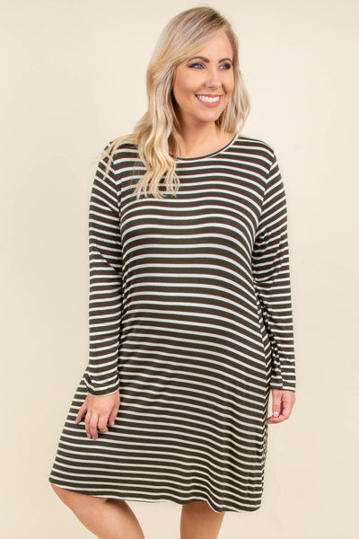 dress, short, long sleeve, flowy, olive, white, striped, comfy, fall, winter