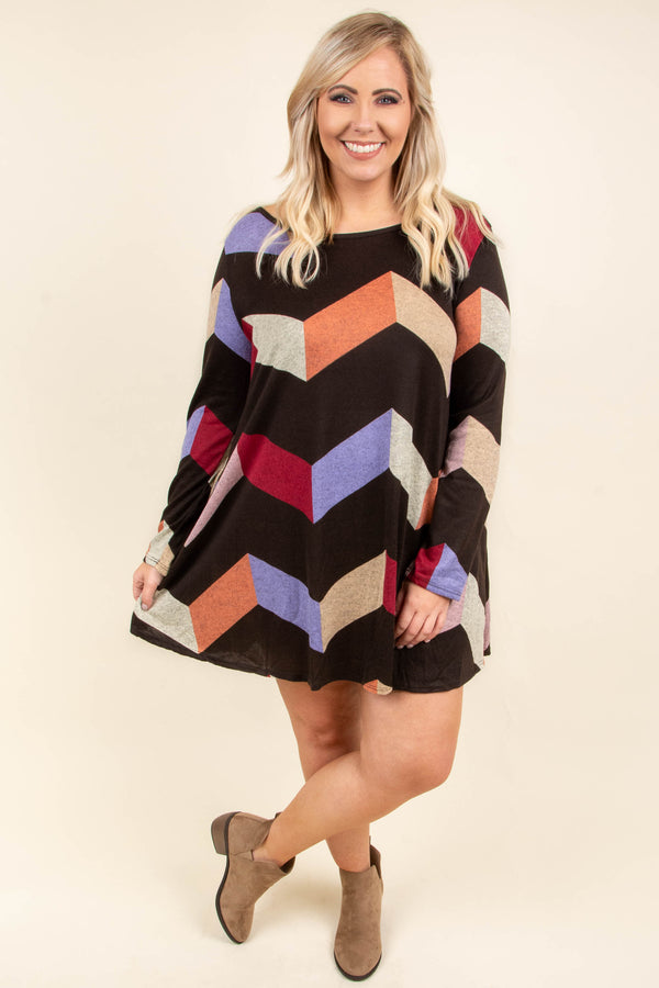 dress, long sleeve, elbow patches, short, brown, red, purple, orange, pink, tan, chevron, fall, winter, flowy