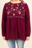 Southern Blooms Top, Burgundy