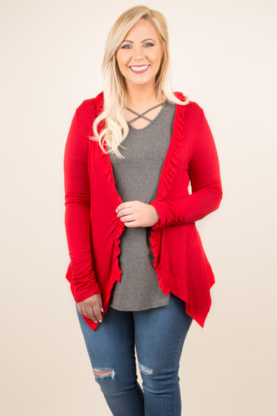 Hooked On A Feeling Cardigan, Red