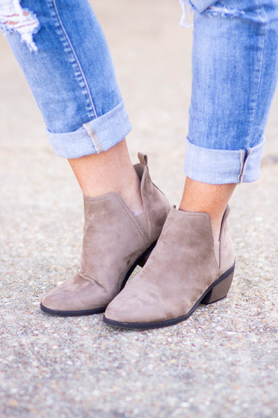 Leaving Late Booties, Taupe