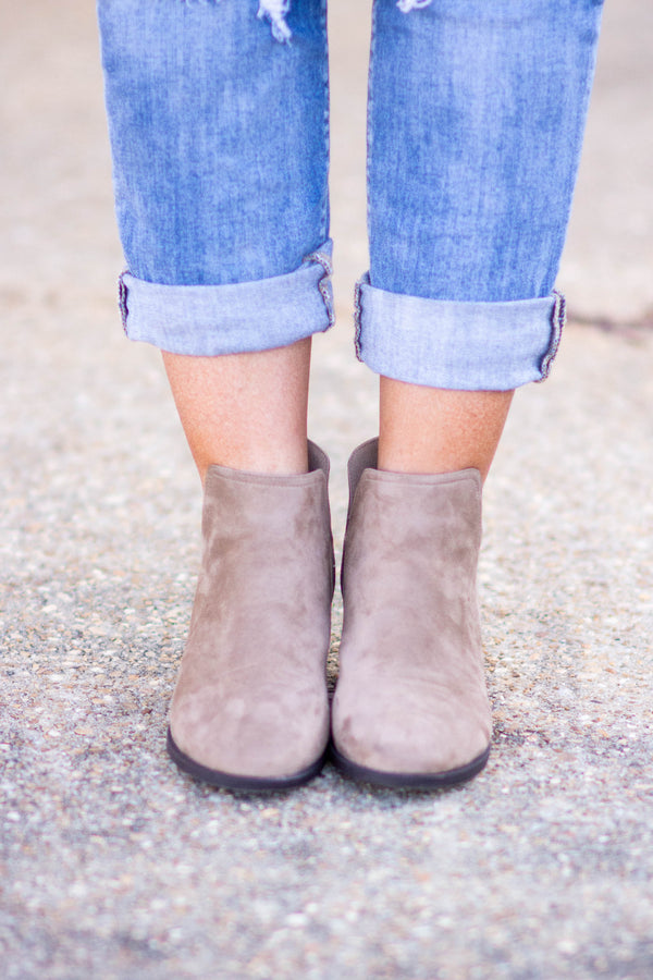 booties, low heel, cut out sides, taupe