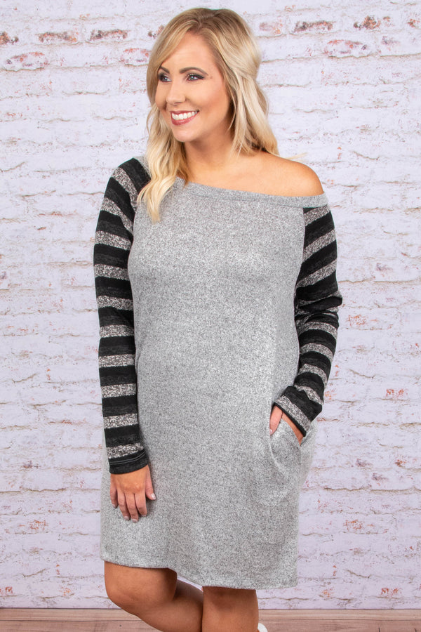 Always Comes First Dress, Heather Gray