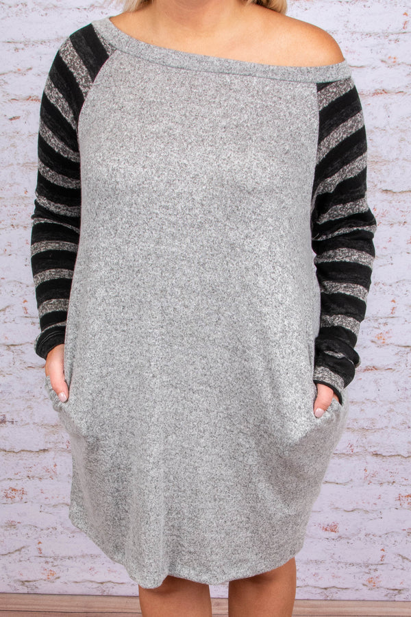 dress, casual dress, stripes, gray, black