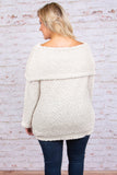 top, sweater, long sleeve, off the shoulder, cream, cozy, fuzzy