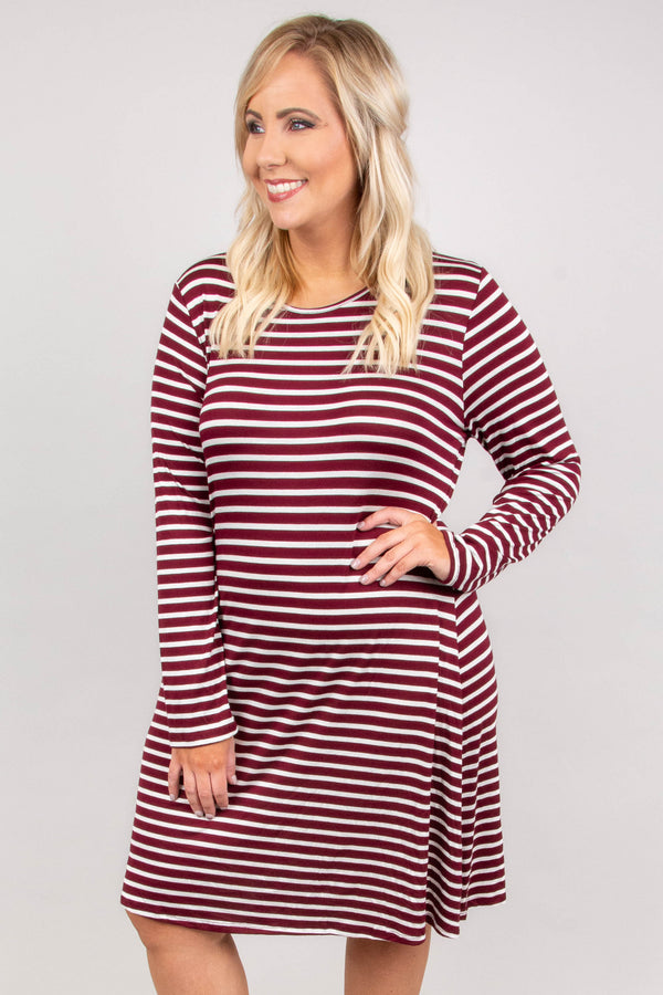 dress, short, long sleeve, flowy, burgundy, white, striped, comfy, fall, winter