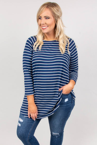 Ahead Of The Times Top, Navy-Ivory