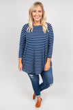 top, three quarter sleeve, blue, white stripe, flowy, fall, winter