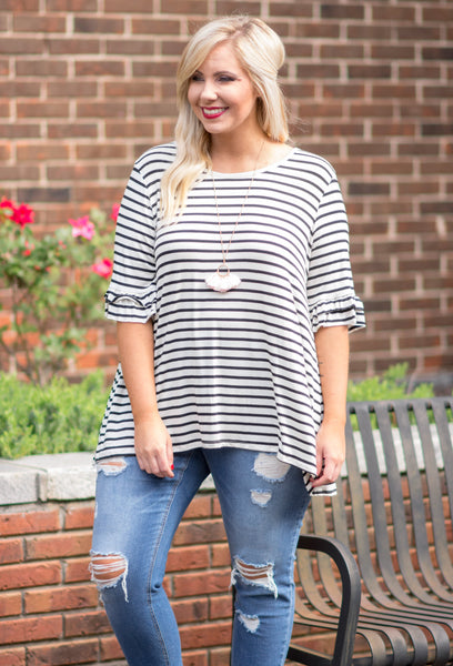 Living in the Moment Top, Ivory-Black